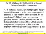 an rti challenge limited research to support evidence based math interventions