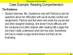 case example reading comprehension103