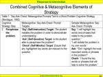 combined cognitive metacognitive elements of strategy63