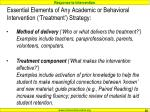 essential elements of any academic or behavioral intervention treatment strategy