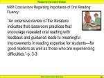 nrp conclusions regarding importance of oral reading fluency