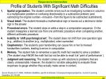 profile of students with significant math difficulties