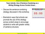 team activity use of sentence combining as a writing strategy across content areas