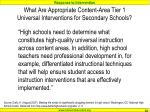 what are appropriate content area tier 1 universal interventions for secondary schools