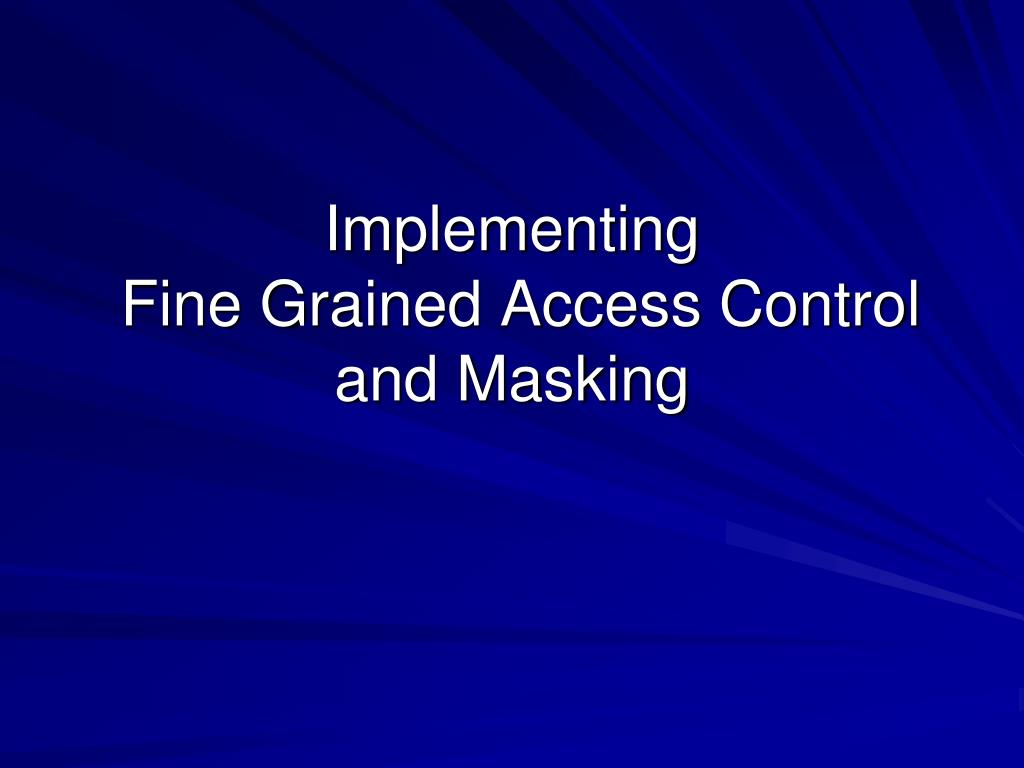 implementing fine grained access control and masking l.