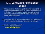 lpi language proficiency index