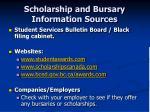 scholarship and bursary information sources