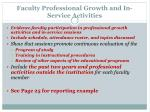 faculty professional growth and in service activities