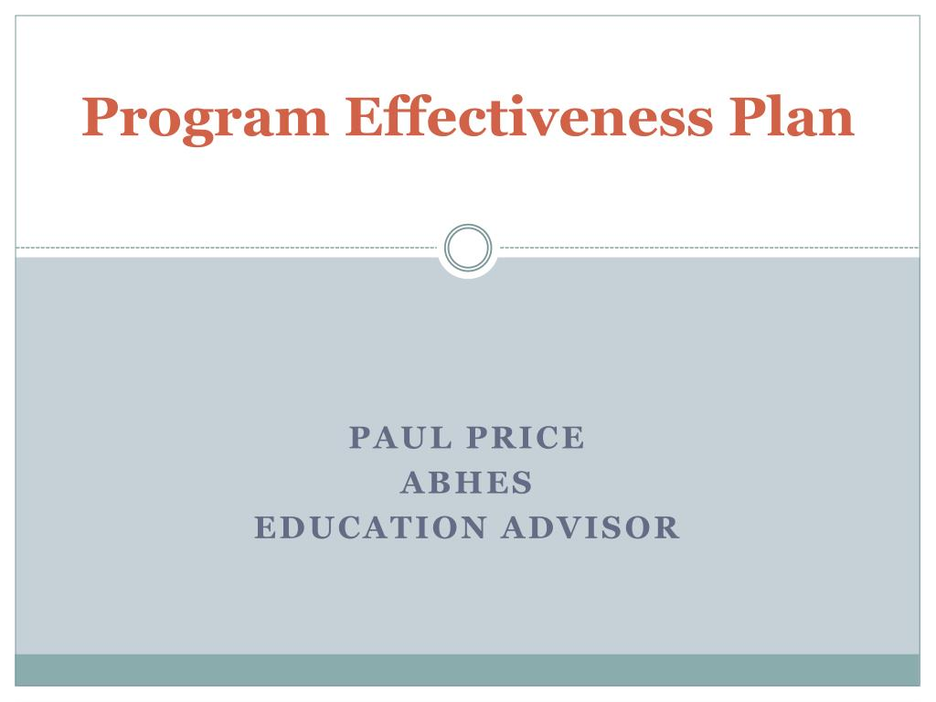 program effectiveness plan l.