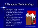a computer brain analogy