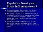 population density and stress in humans cont