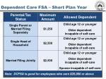 dependent care fsa short plan year