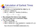 calculation of earliest times