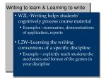 writing to learn learning to write