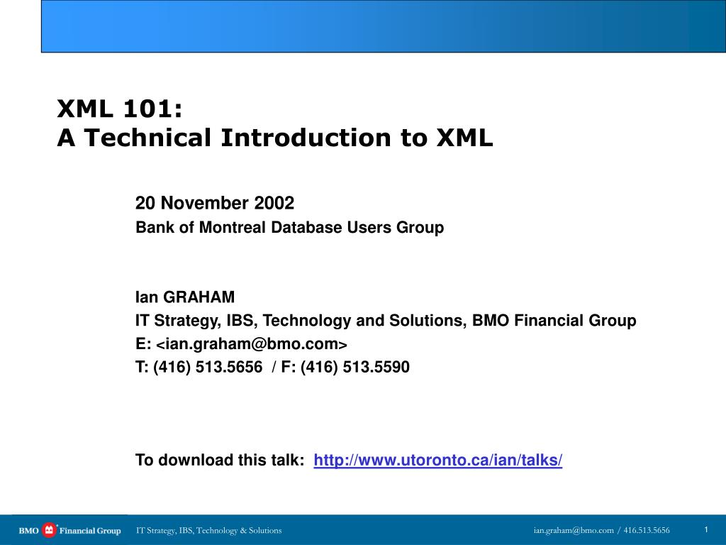 xml 101 a technical introduction to xml l.