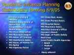 pandemic influenza planning stakeholders meeting 8 9 05