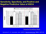 sensitivity specificity and positive and negative predictive value of asca18
