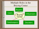 multiple roles in the buying center