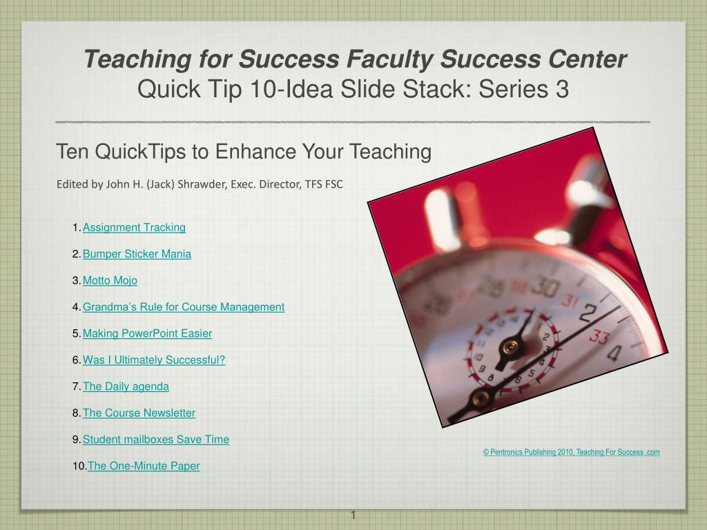 teaching for success faculty success center quick tip 10 idea slide stack series 3 l.