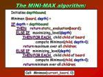 the mini max algorithm