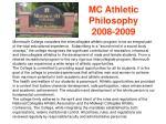 mc athletic philosophy 2008 2009