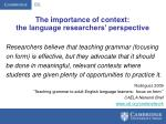 the importance of context the language researchers perspective