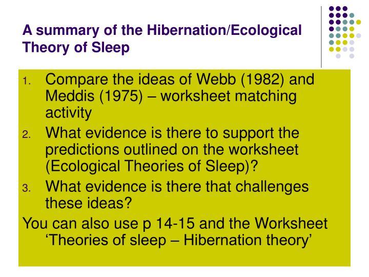 A summary of the Hibernation/Ecological Theory of Sleep
