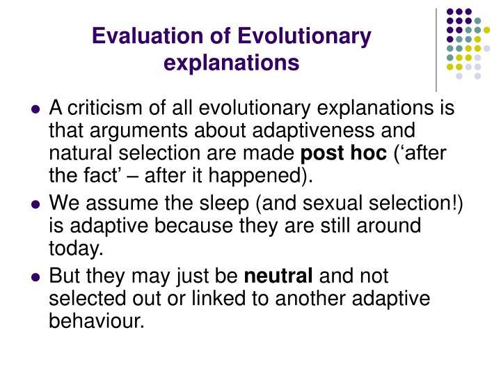 Evaluation of Evolutionary explanations