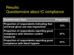 results questionnaire about ic compliance