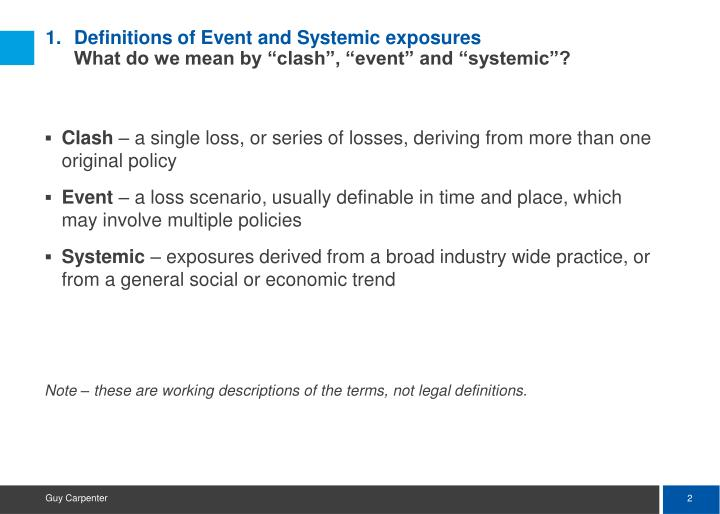 Definitions of event and systemic exposures what do we mean by clash event and systemic