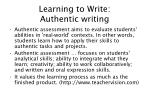 learning to write authentic writing
