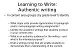 learning to write authentic writing34