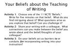 your beliefs about the teaching of writing