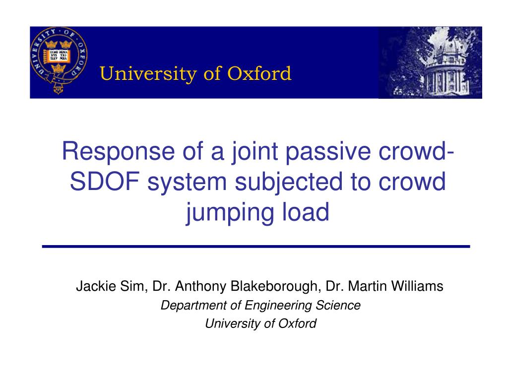 response of a joint passive crowd sdof system subjected to crowd jumping load l.