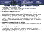 potential funding categories for fy 09 solicitation