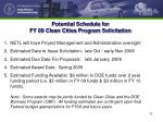 potential schedule for fy 09 clean cities program solicitation
