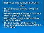 institutes and annual budgets 2007