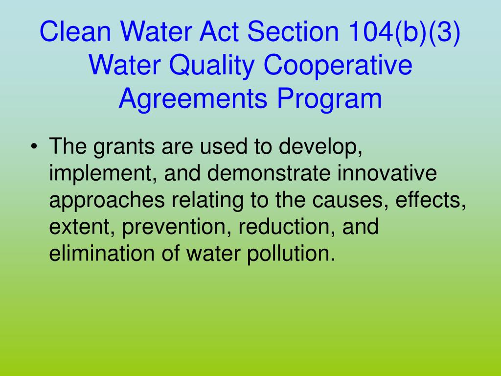 Clean Water Act Section 104(b)(3)