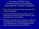 summary of cosig study service and client characteristics associated with treatment completion