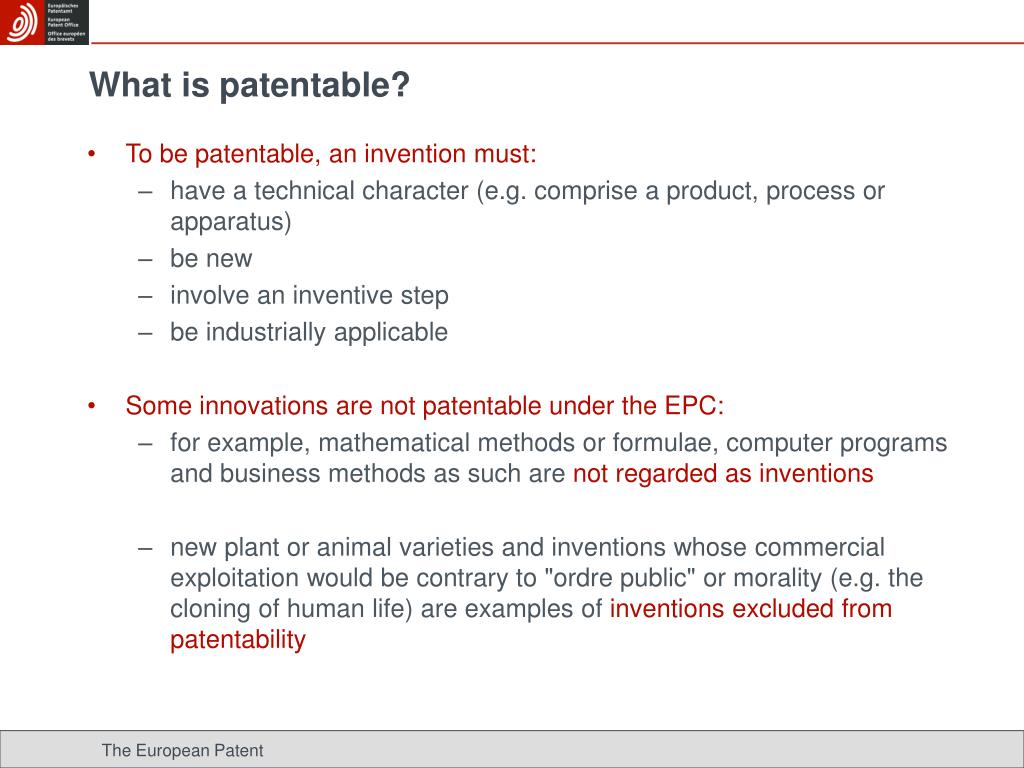 What is patentable?