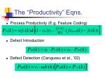 the productivity eqns