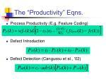 the productivity eqns
