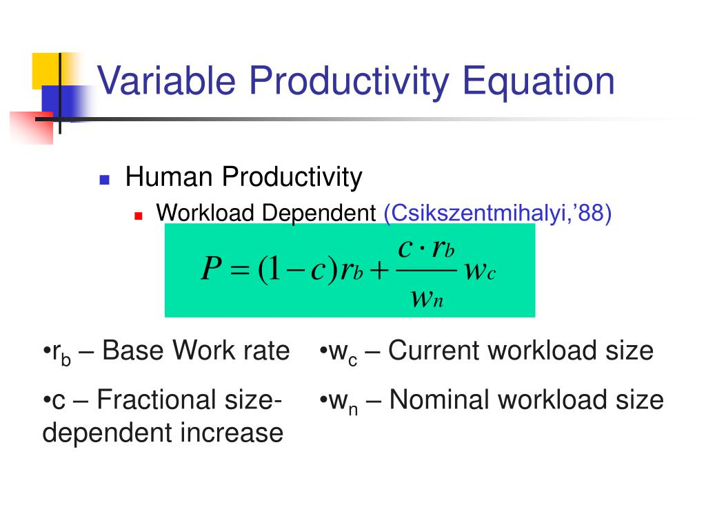 Variable Productivity Equation