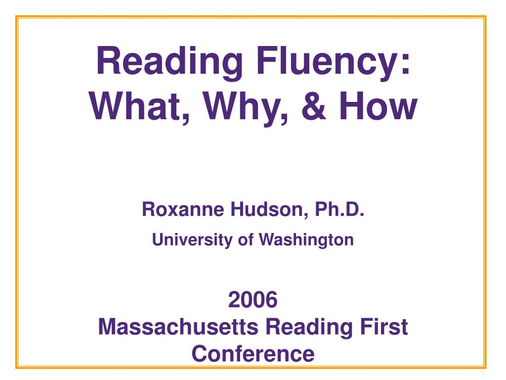 reading fluency what why how l.