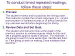 to conduct timed repeated readings follow these steps