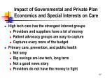 impact of governmental and private plan economics and special interests on care