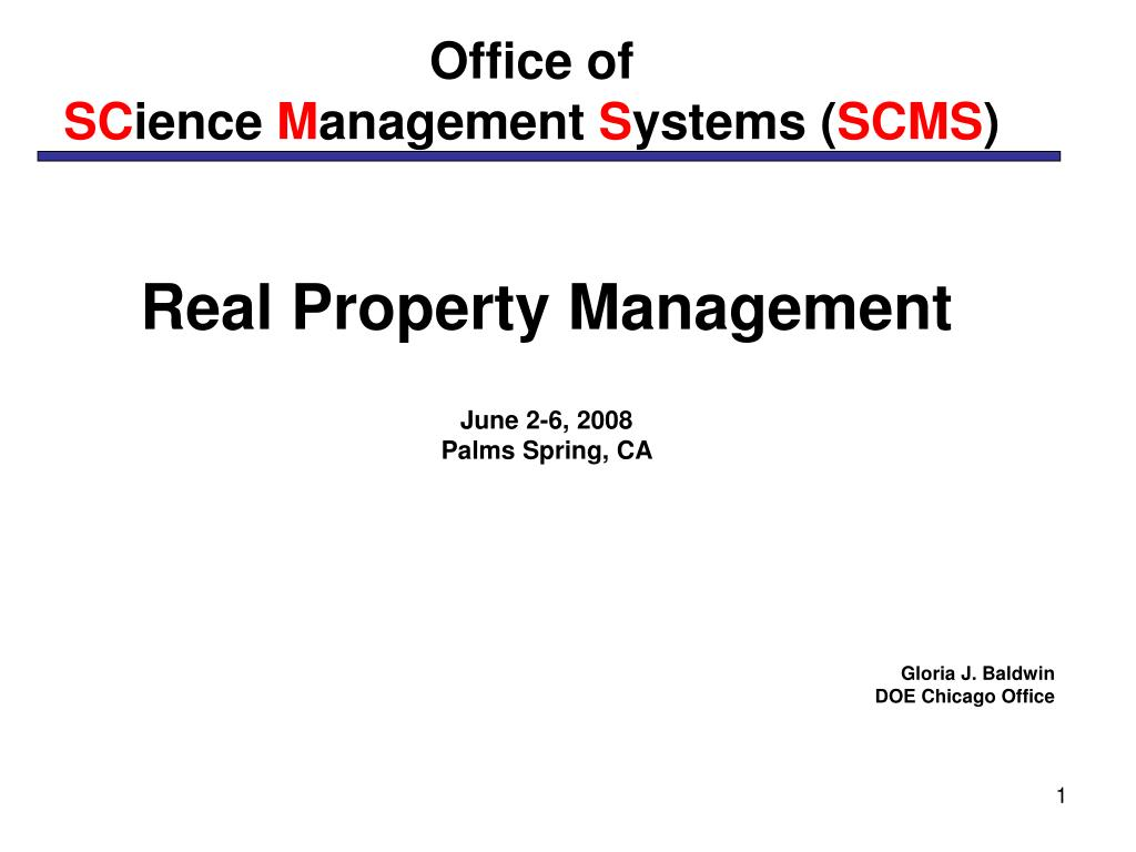 office of sc ience m anagement s ystems scms l.