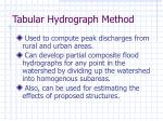tabular hydrograph method