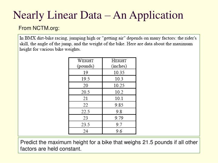 Nearly Linear Data – An Application