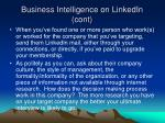 business intelligence on linkedin cont